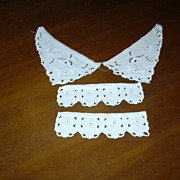 White Cotton Eyelet Collar & Cuffs