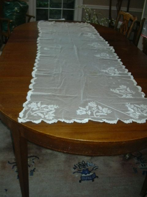 Long Lace Netting Shawl Or table Runner