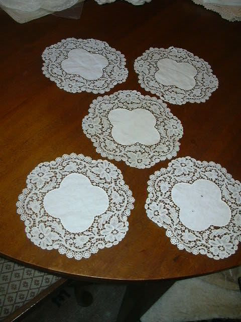 Set 5 Old Batiste Rounds With Fabulous Ornate Lace Borders