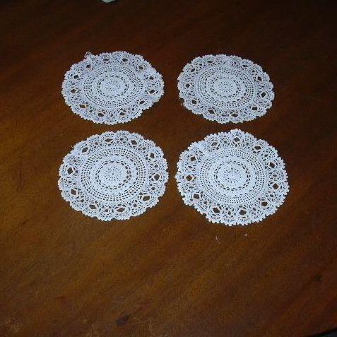 Set 4 Crochet Linen Coasters Small Rounds Doilies
