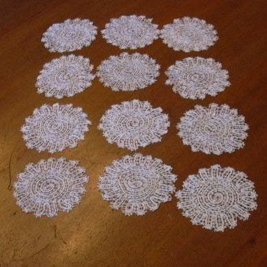 Set 12 Vintage Linen Lace Small Rounds Coasters Doilies