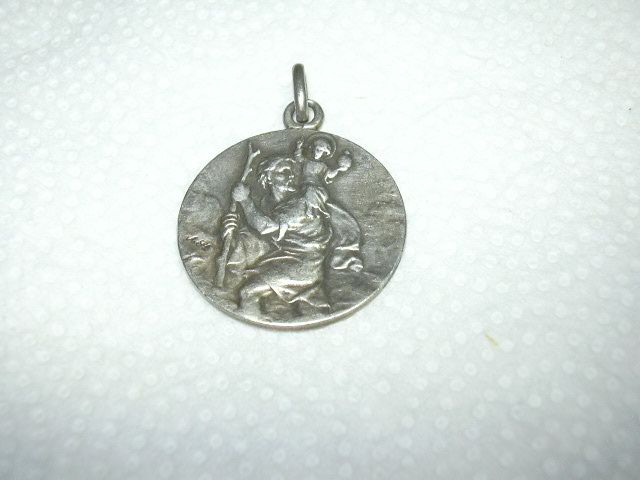 Old French Silver St Christopher Signed Large Medal