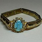 Jeweled Blue Enamel Mary Miraculous Medal on Bracelet