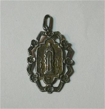 Mary Our Lady Lourdes Ornate French Catholic Medal Fine Christian Religious Medallion