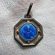 Blue Enamel Scapular Medal Jesus Sacred Heart Mary Our Lady Mt Carmel Fine Catholic Christian Religious Medallion