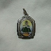 Hand  Painted Or Printed Jesus Infant Of Prague German Medal