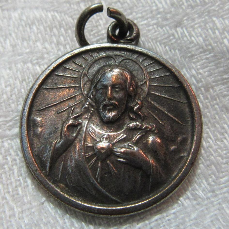 Old Scapular Medal Jesus Sacred Heart Our Lady Mt Carmel