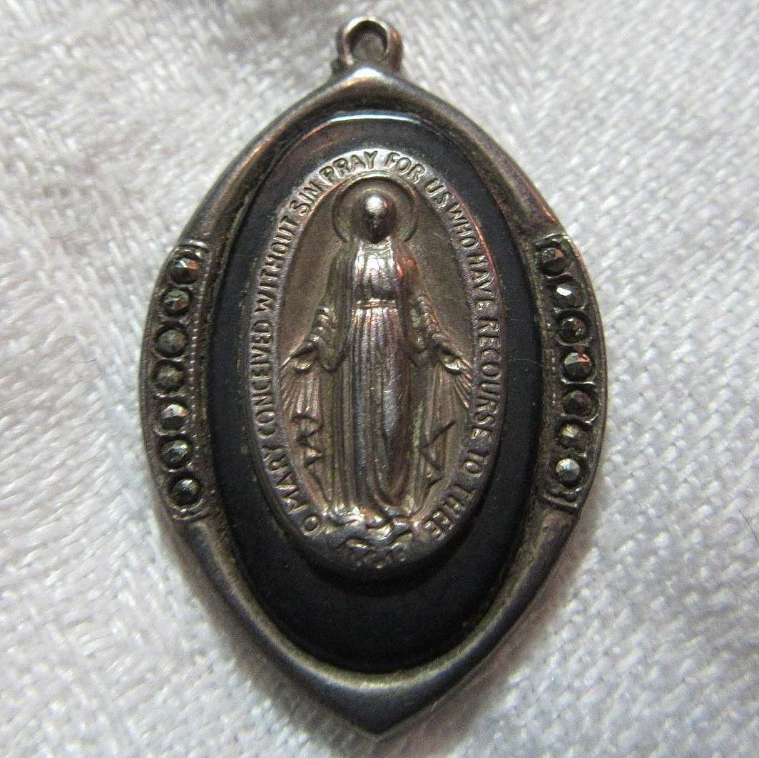 Virgin Mary Miraculous Medal Sterling With Marcasites