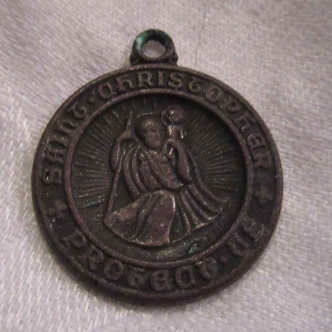 Very Old St Christopher Medal With Bishops Inscription