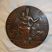 Huge Catholic Medal Virgo Carmeli Scapulaire Our Lady of Mt Carmel Scapular Fine Religious Medallion