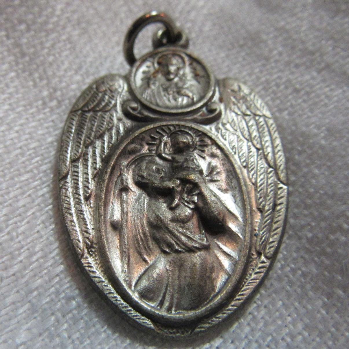 Winged St Christopher Medal With Scapular