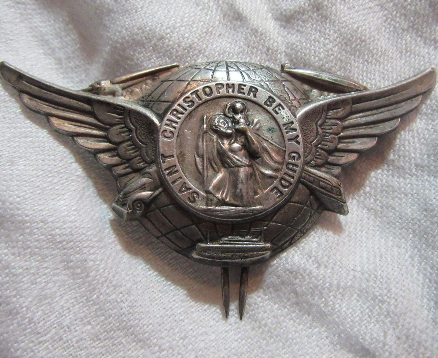 St Christopher Large Winged Medal Clip Rare