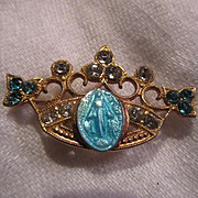 Virgin Mary Blue Miraculous Medal In Crown