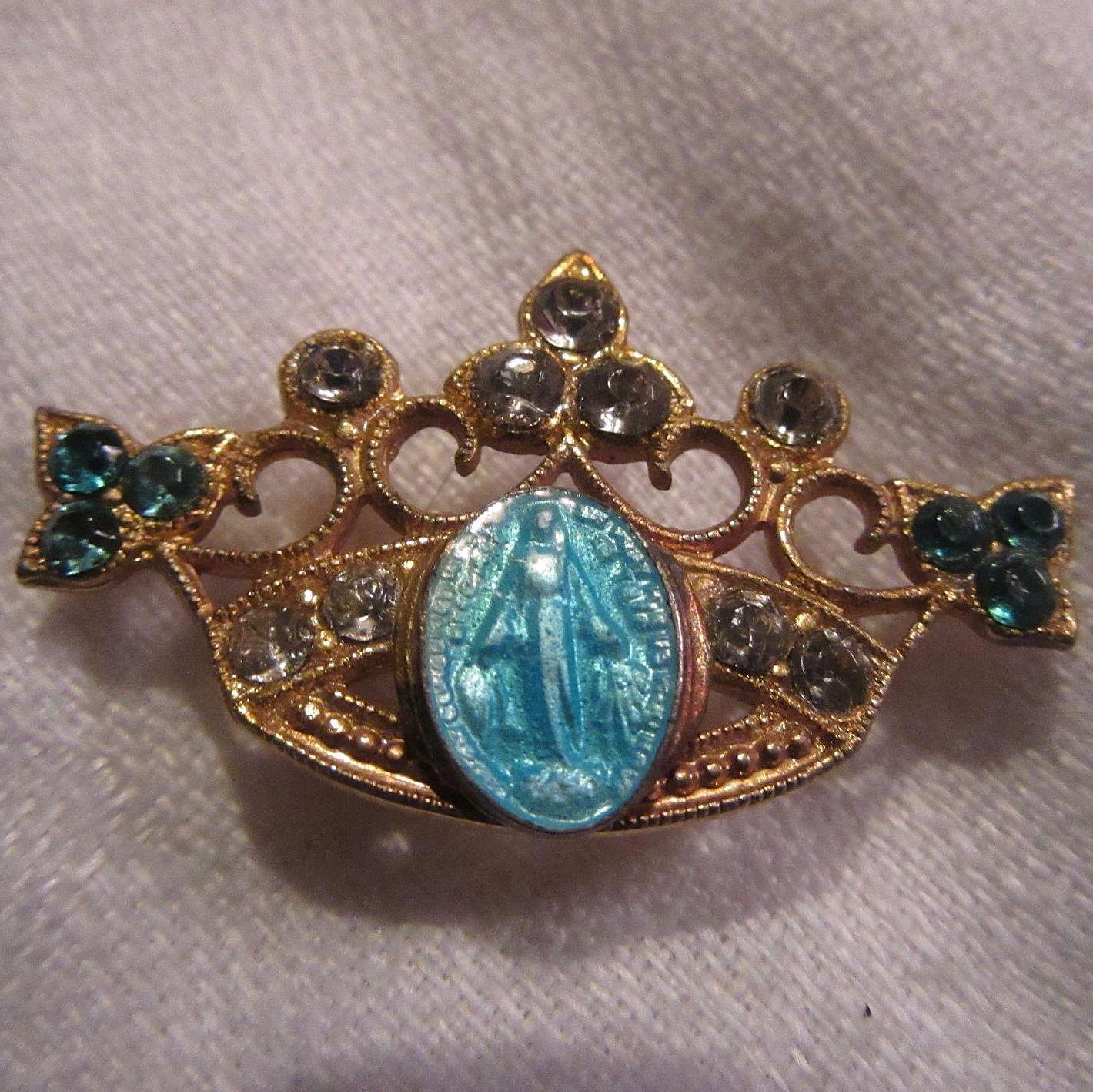 Virgin Mary Blue Miraculous Medal In Crown
