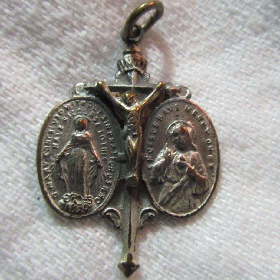 Old Crucifix Three Way Medal