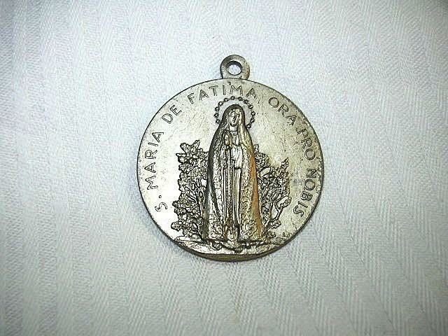 Huge Our Lady Of Fatima Medal Virgin Mary  1954 Dated & Signed