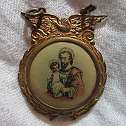 Old Celluloid Medal St Joseph & Infant Jesus With Wings