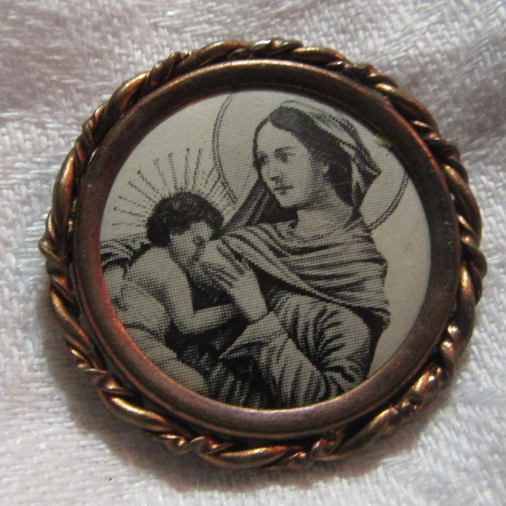 Nursing Madonna Old Celluloid Medal Medallion Virgin Mary