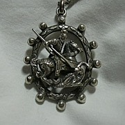 800 Silver Heavy Fancy St George & The Dragon Medal Medallion