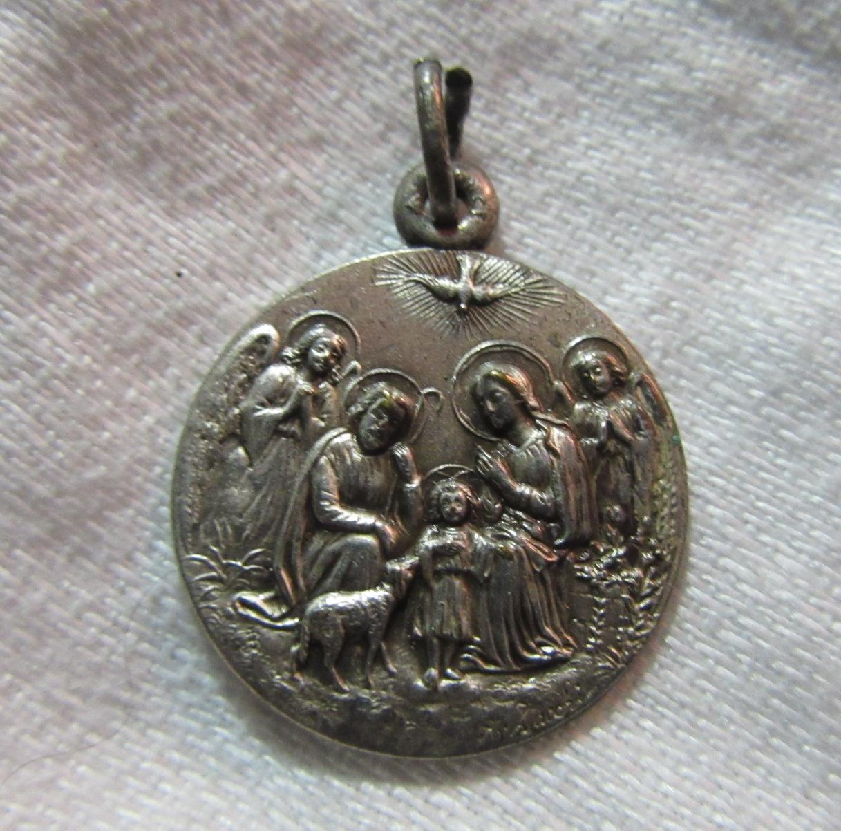 Holy Family With Holy Ghost & Our Lady Of Fatima Signed French Medal