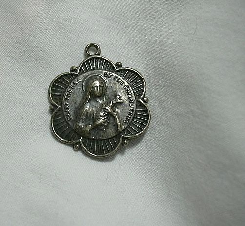 Sterling Silver St Teresa Of The Child Jesus Medal  Therese of Lisieux Ornate Medal