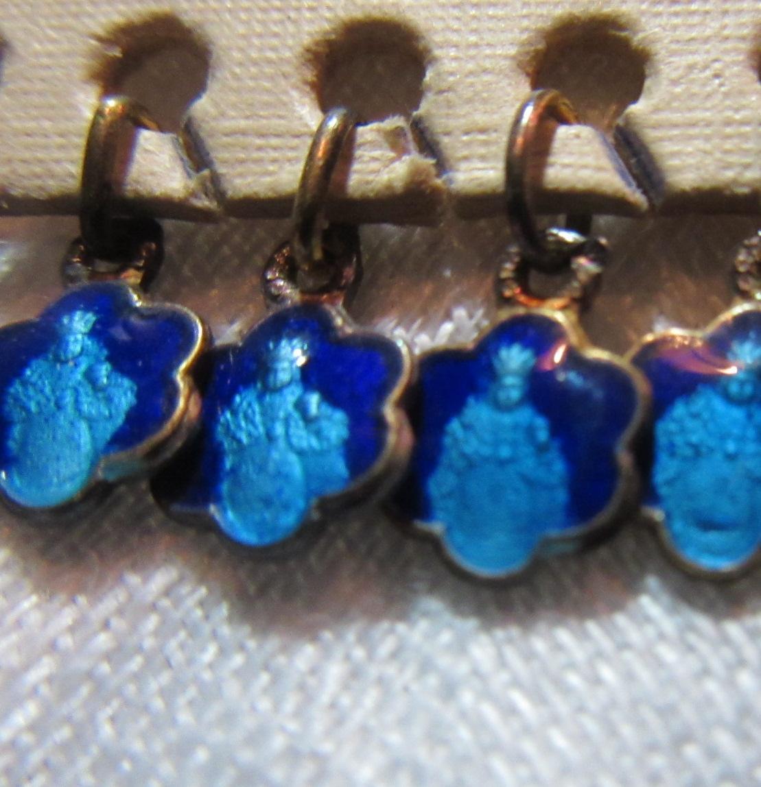 Tiny Old Blue Enamel Infant of Prague Catholic Medal