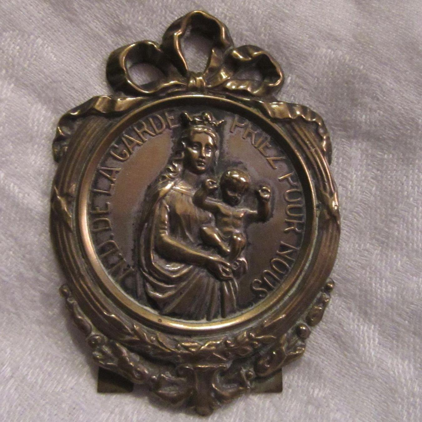 ND De La Gard Our Lady Of The Guard Medal Medallion On Easel Virgin Mary