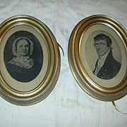 Pair Old Prints Of Signed 1700's Paintings Cameo Portraits