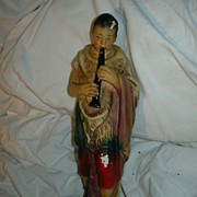 Old Large Nativity Figure Chalk Ware Flute Player Boy Fine Christmas Religious Statue