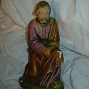 Old Large Nativity Figure Chalk Ware St Joseph Fine Christmas Religious Statue