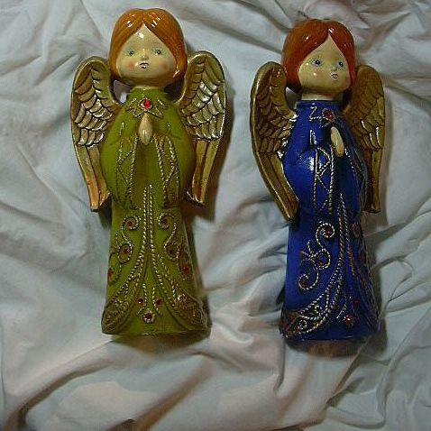 Set 2 Old Angel Christmas Figurines Japan