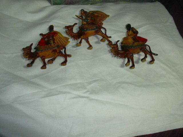 Set 3 Old Hong Kong Wise Men Kings & Camels Nativity Christmas Figures