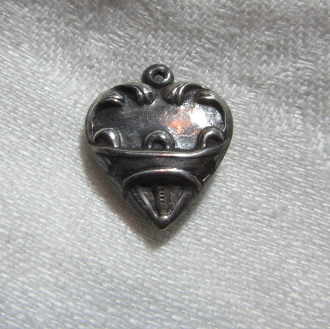 Sterling Silver Heart Charm Scroll & Repousse From An Old Necklace Of Fine Puffy Sterling Hearts