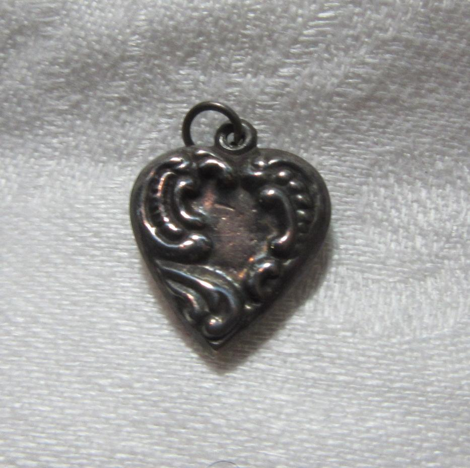 Sterling Silver Heart Charm Ornate Repousse From A Fine Collection of Puffy & Sterling Hearts
