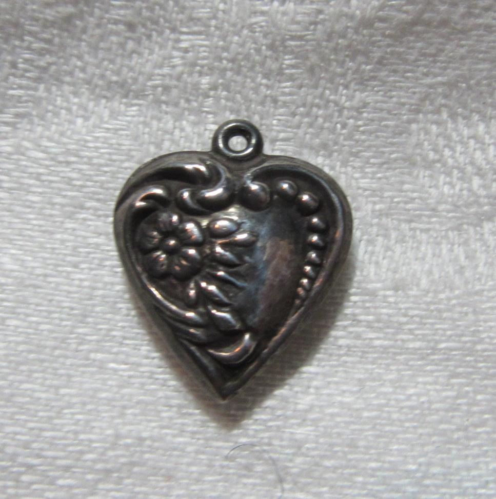 Sterling Silver Heart Charm Flower & Repousse From a Fine Collection of Sterling & Puffy Hearts
