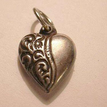 Sterling Silver Heart Charm Repousse From a Fine Collection of Puffy & Sterling Hearts