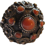 Old Poison Ring Fancy Metalwork Coral Sz 7