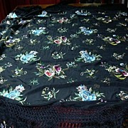 Old Piano Shawl Table Scarf Embroidered  Flowers Fringe Fine Vintage Textile Art
