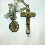 Old Nuns  Reliquary Crucifix & Locket  St Cecelia Agnus Dei