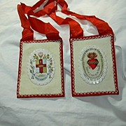 Large Hand Sewn Scapular Wool ribbon & Sacred Heart