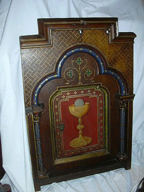 Old French Hand Painted Eucharist  Wood Tabernacle Door & Original Altar Frame