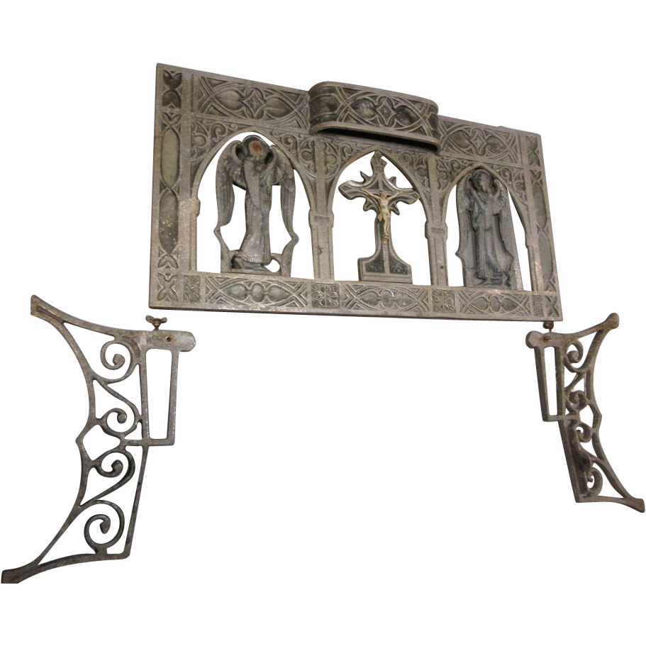 Old Kneeler Or Architectural Religious Piece Crucifix And Saints