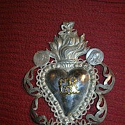 Old Ex Voto Silver Sacred Immaculate Heart Catholic Sacramental Offering