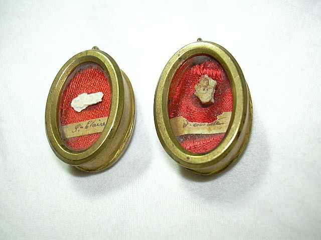 Pair Reliquary St Claire Clare & Collette Catholic Sacramental