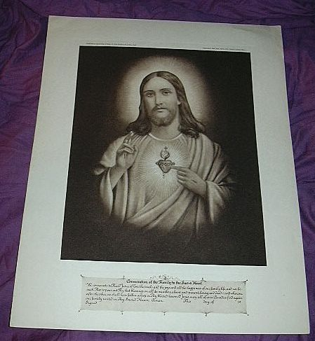 Jesus Sacred Heart Old Catholic Print Fine Religious Christianity Art