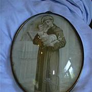 St Anthony Old Print Bubble Glass Fine Catholic Christianity Religious Art