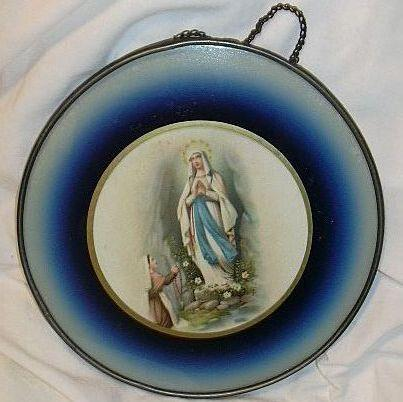 Virgin Mary Our Lady Lourdes Print Reverse Painted Glass Fine Religious Catholic Art