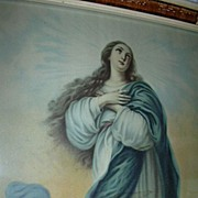 Immaculate Conception  Virgin Mary Old Print Fabulous Framed Catholic Christianity Art