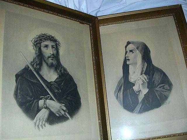 Rare Prints Jesus Ecce Home Mary Mater Dolorosa Framed Catholic Christianity Art Crosia