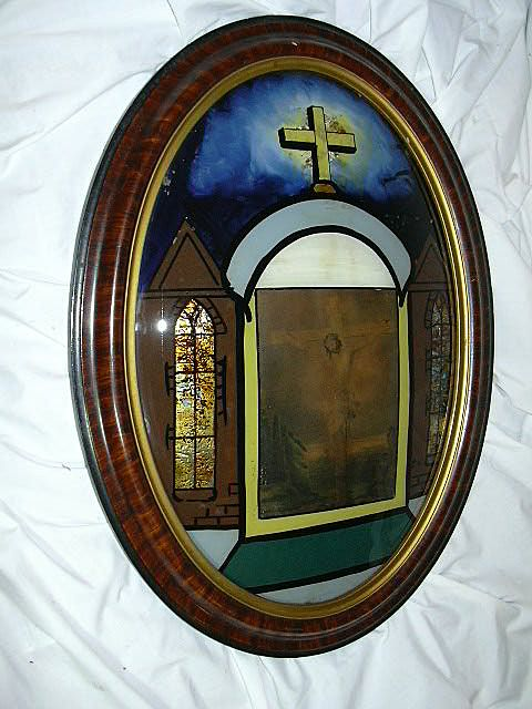 Rare Large Bubble Glass Tabernacle Art Reverse Painted Glass Catholic Crucifix